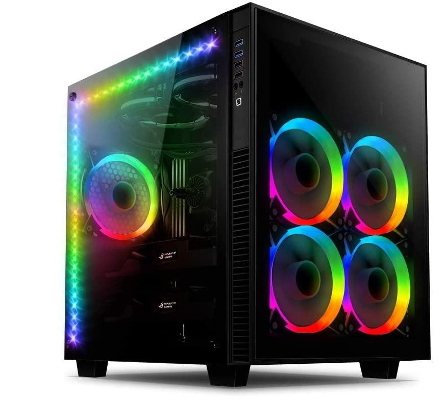 Boitier RGB PC en verre trempé avec 5 ventilateurs