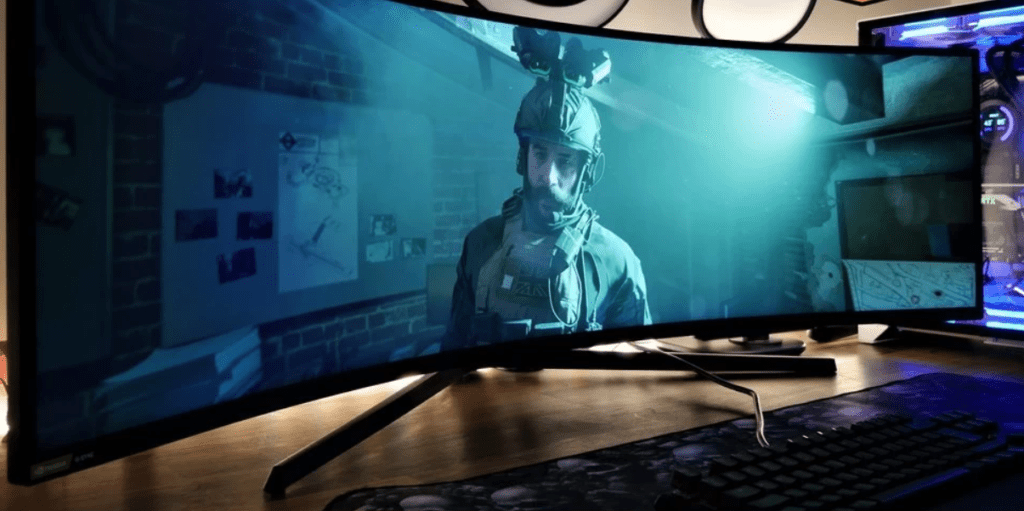 jouer à call of duty sur un écran incurvé