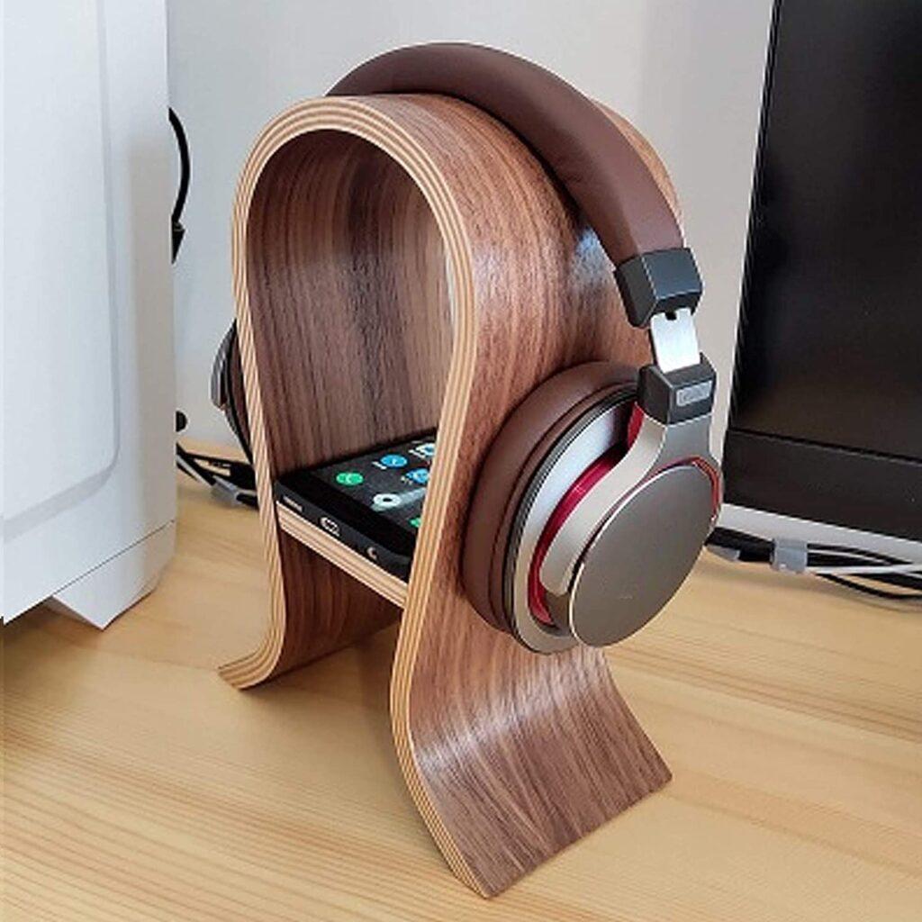support en bois pour casque audio
