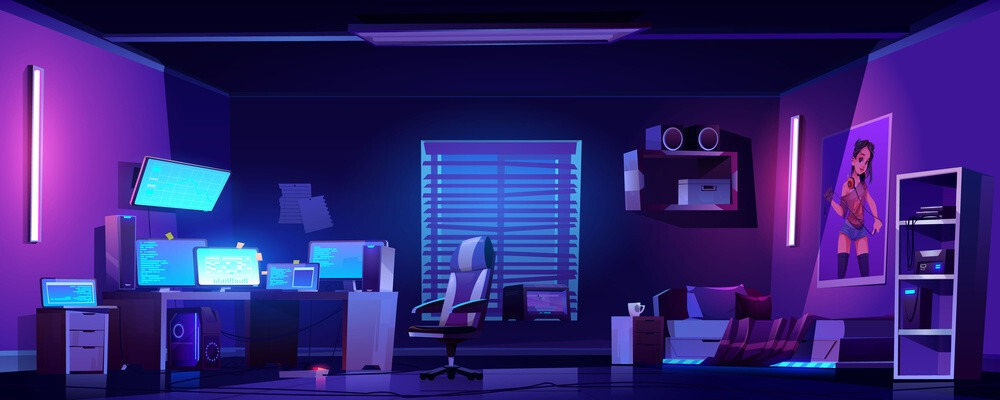 chambre de geek avec pc