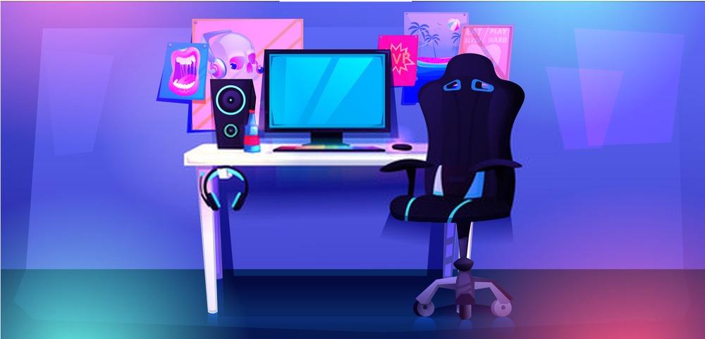 bureau de gamer avec une chaise de bureau