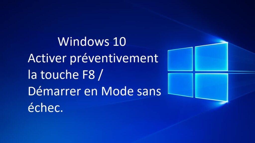 Windows 10 Activer la touche F8 Demarrer en mode sans echec.www .sospc .name